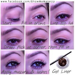 showmemakeup:  A quick clean eyeliner look you can create in under 5 minutes, using Maybellines gel liner in Brown!