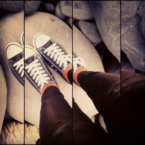Them chucks and boulders and colored socks and awesome camera app - in Basco, Batanes, Philippines