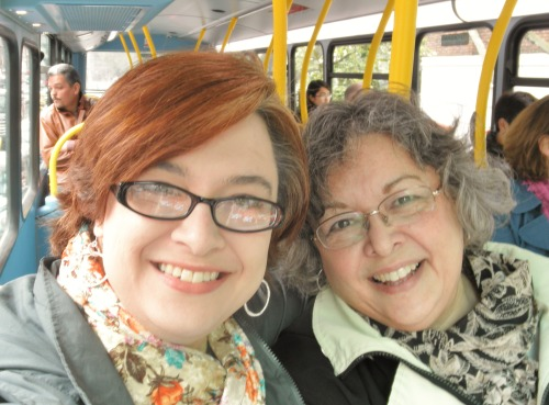 Me and Mom, talking selfies on the London bus.