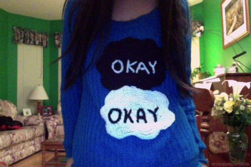 Finished my TFIOS sweater : ) (submitted by onceuponacantabile)