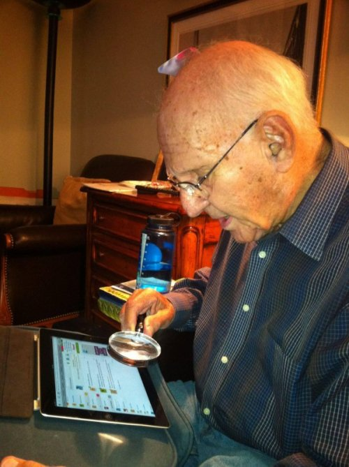 Grandpa Attempting to Use an iPad Back in my day, we didn't HAVE Retina display.