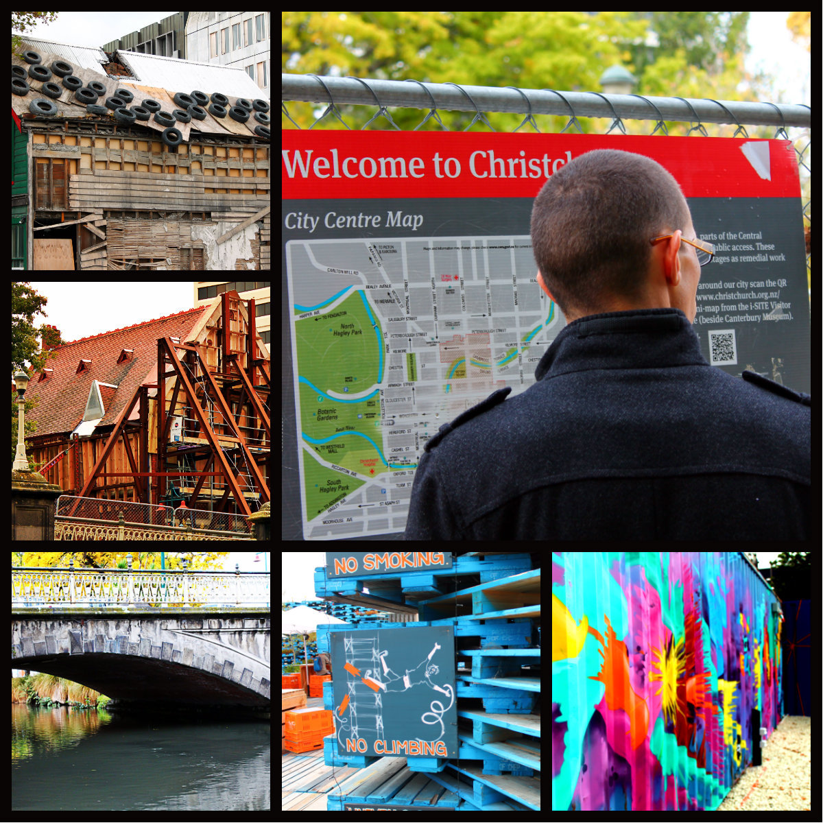 A collage of our afternoon in Christchurch. Two years after the massive earthquake that decimated the city; it was an experience to see the re-build and how the people have used the rubble-space to create entertainment hot-spots.