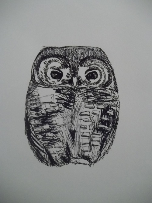 teaandowlss:  Owl Indian Ink and Sharpie http://society6.com/greenowlsand
