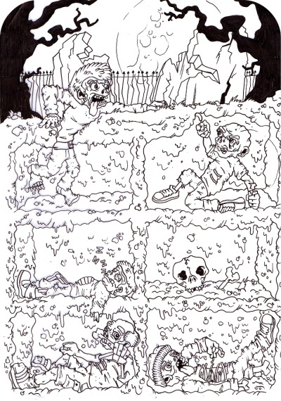 rachel-alderson:  Scanned line art work of my zombies, now I'm just waiting on my Wacom Cinitq 13HD which is hopefully coming today! Too excited!!