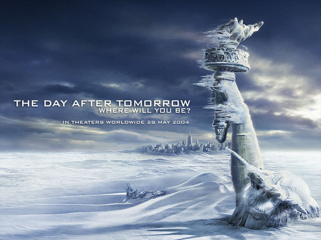 "The Day After Tomorrow (2004)Jack Hall, paleoclimatologist for NORAD, must make a daring trek across America to reach his son, trapped in the cross-hairs of a sudden international storm which plunges the planet into a new Ice Age. Genre: Action, Adventure, DramaDirector: Roland EmmerichWriter: Roland Emmerich (Story), Roland Emmerich & Jeffrey Nachmanoff (Screenplay), Stars: Dennis Quaid, Jake Gyllenhaal and Emmy RossumRuntime: 124 minMovie Released: In 78 different CountriesPremieres:  17 May 2004, Mexico City | 21 May 2004, Berlin | 24 May 2004, New York City | 26 May 2004, London | 31 May 2004, TokyoMistakes:All over the movie, there is no steam coming out of people's mouths when they are in a cold environment.——————————————-Trivia:The film was originally scripted with Sam and his friends as 11-year-olds, but director/screenwriter Roland Emmerich changed them to high school students for Jake Gyllenhaal, who Emmerich had seen in October Sky. Emmerich asked ""Can Jake Gyllenhaal play a 17-year-old?"" ——————————————-During the filming of the tsunami scene, Jake Gyllenhaal needed to use the restroom very badly, so he went in the water tank. ——————————————-The whole wolves attacking the ship sequence took only 5 days to film. ——————————————-Nine special effects house worked on the film for over a year. ——————————————-Crazy Credits:In closing credits the movie is copyrighted 2004, but movie poster reads © 2003.Quotes:""Library Security Guard: [as Brian works on a radio]Library Security Guard: Maybe you should have somebody help with that, you know?Brian Parks: Sir, I am president of the Electronics Club, the Math Club, and the Chess Club. Now if there's a bigger nerd in here, please… point him out.Library Security Guard: …I'll just leave you alone to work on it, then. ""———————————————""Laura Chapman: I've got one. Your favorite vacation?Sam Hall: Besides this one? .""——————————————-""J.D.: [showing the other students the museum] I couldn't let you guys leave New York without seeing the Natural History Museum.Sam Hall: [under his breath] Of course not, it's the world's finest collection of stuffed animals. ""——————————————""Simon: [their final lines in the movie] Gentlemen,[toasting]Simon: To England!Terry Rapson: To mankind!Dennis: To Manchester United!  ""—————————————Music:Karma - FungoneDo You Really Want to Hurt Me - Culture Club"