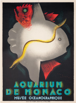 JEAN CARLU (1900-1997) AQUARIUM DE MONACO, MUSEÉ OCÉANOGRAPHIQUE, lithograph in colours, 1926.
