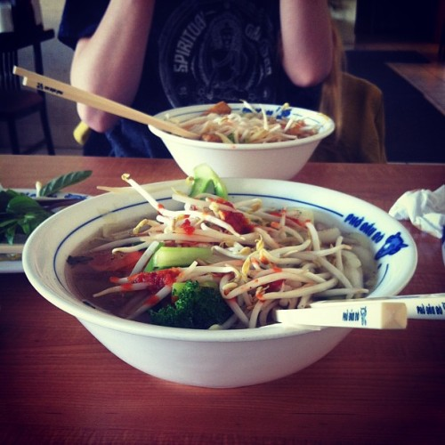 Some lunch #pho action with @mostlyvegetables