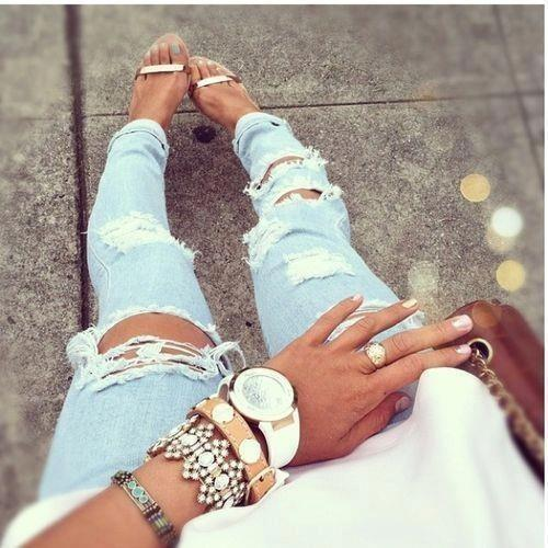 #love #this #shoes #and #braceles #plus #those #jeans #fashion #ripped #nails #ring #outfit #followforfollow #follow #me