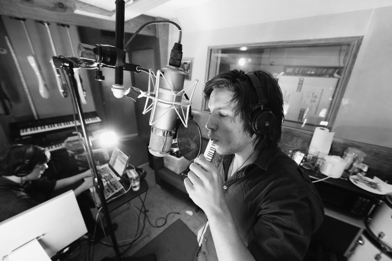 Gus doing vocals at Kingsize Sound Labs