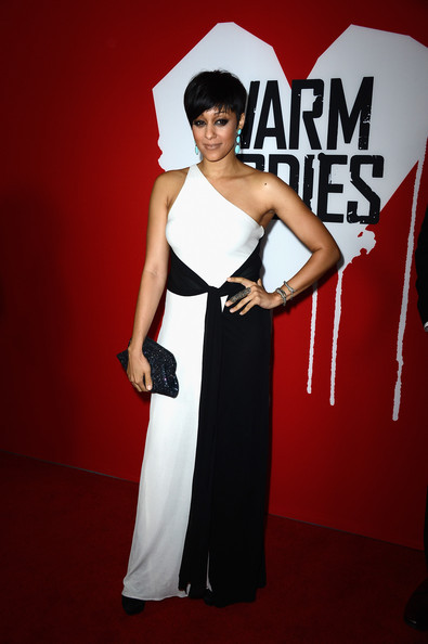 Splurge: Tia Mowry-Hardrict's Warm Bodies Premiere Issa Silk Crepe One Shoulder Gown