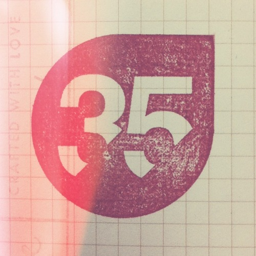 Logo for Shop 35 stamped in my current Field Notes.