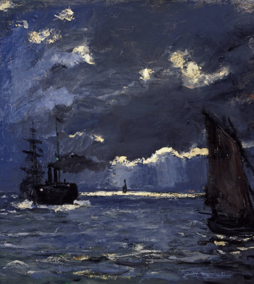 "dawnawakened:  Claude Monet, A Seascape, Shipping by Moonlight (1864)  ""The bold light effects of the moonlit harbour of Honfleur, Normandy contribute to the scene's dramatic impact. Dark clouds obscure the moon but its presence is confirmed by the brilliant patches of light and reflections in the water. These are echoed by the lighthouse's beam and its reflection. The sailing boats and steam ship provide strong dark silhouettes against the elements. This is an early work by Monet, painted with an unusual combination of palette knife and brush. He commented later on his admiration for moonlight scenes but also on the difficulties involved in painting nature at night."" - National Galleries,"