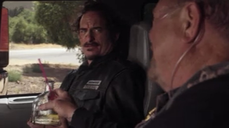 "sabrinaspellman:  Piney ""It'll be a long ride, Tiggy"" Tig ""Do you have another straw?"" drinking Patron through a straw while driving a flatbed."