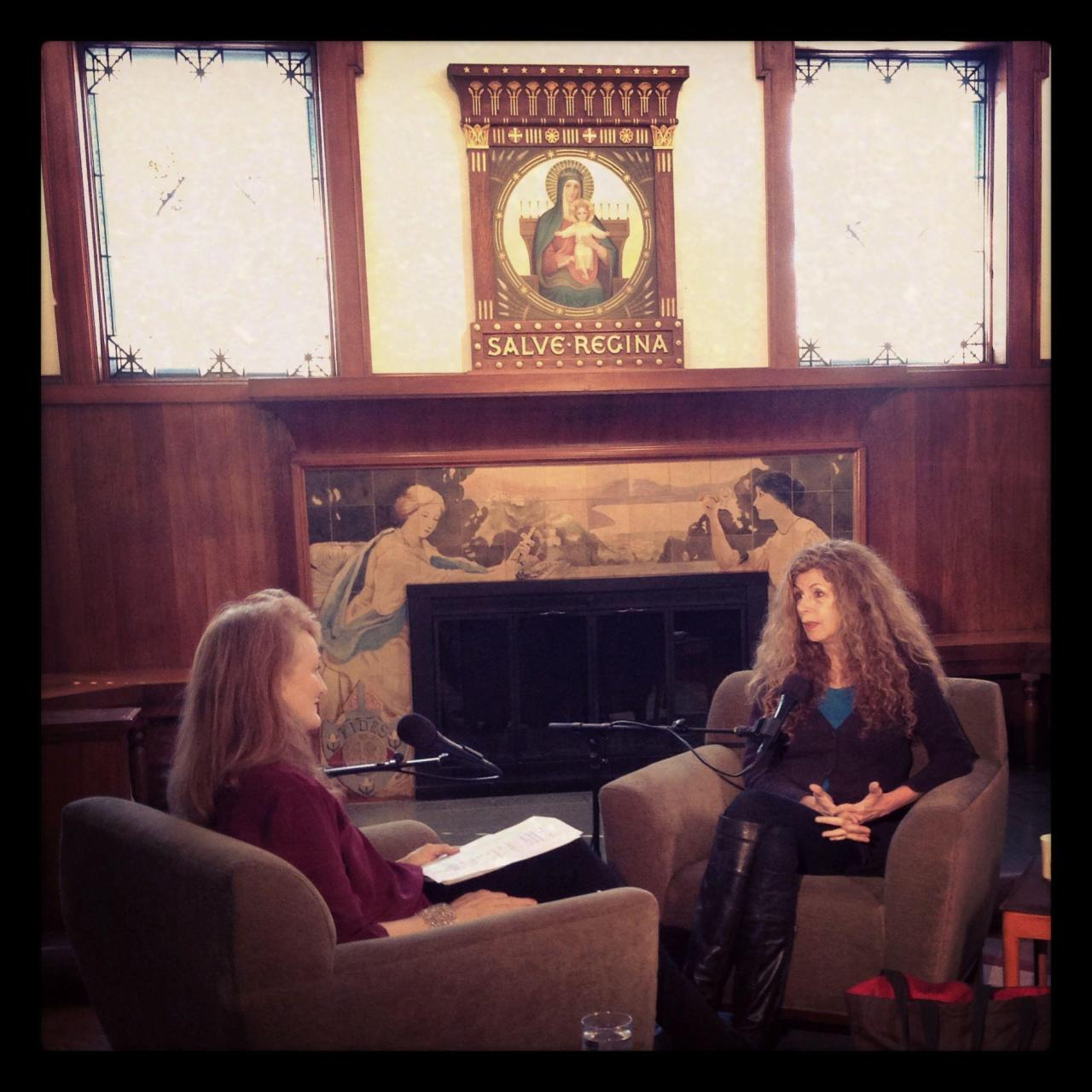 On Saturday, Krista Tippett interviewed New York poet laureate Marie Howe in the beautiful old library at the College of Saint Benedict under the watchful eyes of the Virgin Mary (Salve Regina). Can't wait to produce this show for On Being. Photo by Trent Gilliss