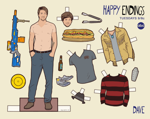 Doll #49Dave, Happy Endings Really excited to share some new paper dolls with you guys, this time working on a set with ABC for their show Happy Endings.  I worked on these with one of the show's writers, Gil Ozeri, to come up with some of their favorite costumes and moments from Season 1 and 2.  Season 3 (new episode tonight!) is proving to have even more costumes, so hopefully we'll do some new accessories soon.