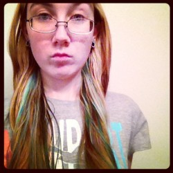 So this happened today… eh, it's a little uneven (mostly because the blonde was uneven).. I just did two small streak kind of underneath my hair as a test..forgot how much more difficult turquoise dye is than red colors.It came out quite a bit more…greenish, so I'm thinking to get the blue color I wanted, maybe I need my hair to be closer to white…maybe leave it in a bit longer too..So I dunno.. Trying to decide if I should bleach all my hair before doing this. (I was thinking purple haze with some turquoise and cotton candy pink streaks underneath) I'm not at all good at dying though, and bleaching is more difficult than dying…I was really hoping not to have to do that…hmm…*stroking invisible beard*