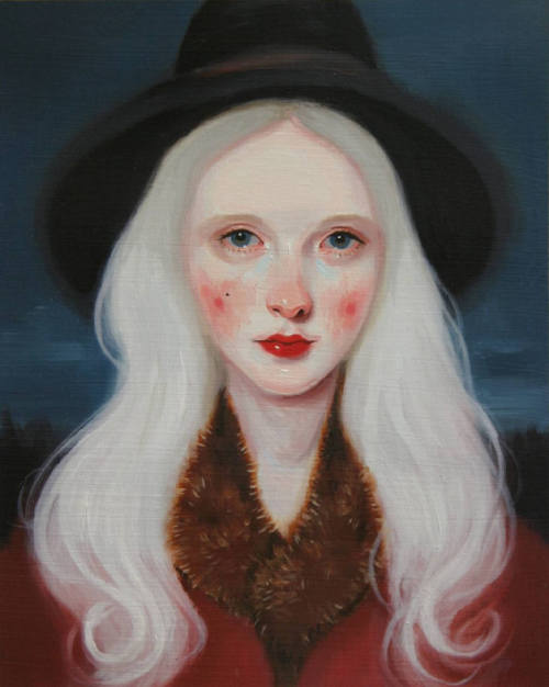 When She Went White, 2012 by by Kris Knight. Oil on prepared paper, 8 x 10.   via alexandrainspire.