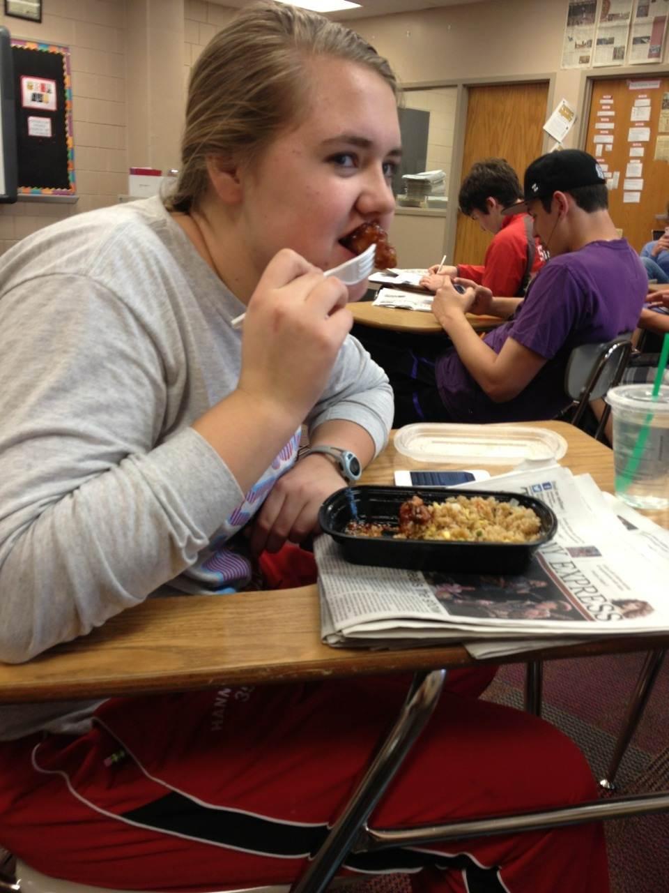 studdedrevolution:  So this girl in my class brings Chinese food every Wednesday. She stares at people while slowly eating her chicken. That's some dramatic poultry