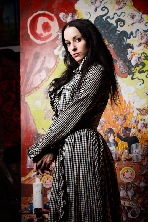 thekateblack:  mollycrabapple:  SHELL GAME, my giant solo art show about the crises and revolutions of 2011, opens 4/14 at Smart Clothes Gallery.  More info HERE If you are press who is interested in covering SHELL GAME, email molly@mollycrabapple.com The rest of you, see you at the opening photo by Steve Prue  I love this photo by Steve, and can't wait for the Shell Game opening. See you there.