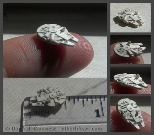 laughingsquid:  Tiny Half-Inch Papercraft Millennium Falcon  It can do the Kessel run in less than 12 millimeters.