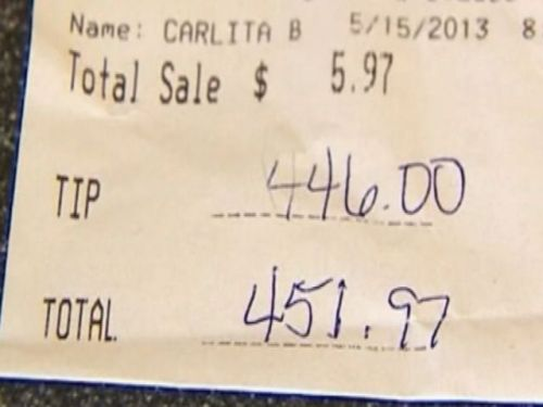 nbcnews:  Waitress gets a $446 tip - on a bill of $5.97 (Photo: WTHR) Sometimes it pays to be nice. In the case of CeCe Bruce, a server at a Steak 'n Shake in Indianapolis, it paid $446 – on a bill of $5.97. Read the complete story.