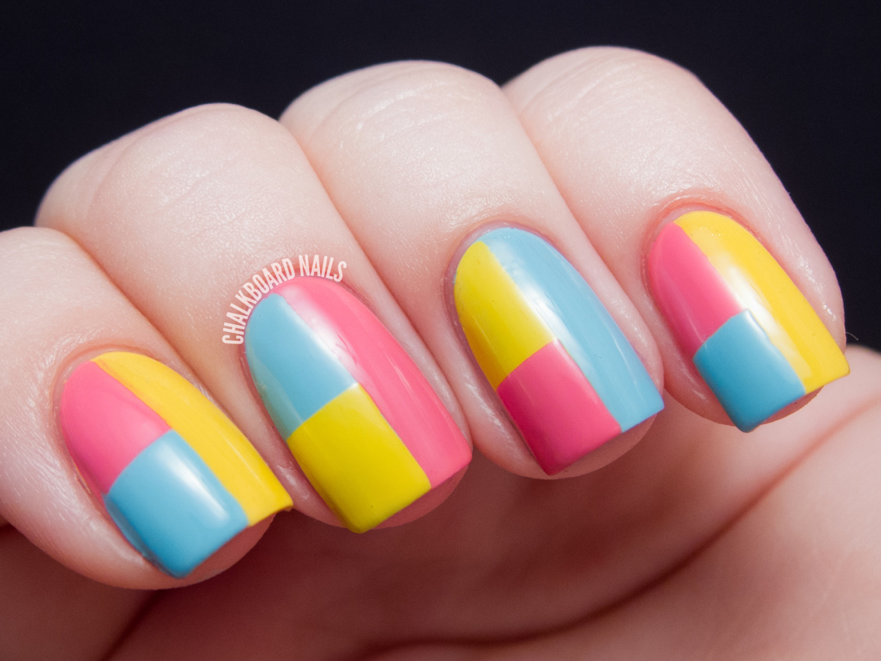 chalkboardnails:  Spring Color Block Tape Manicure (+ Tutorial) Sally Hansen LighteningSally Hansen Fuchsia FlareSally Hansen Blue-Away