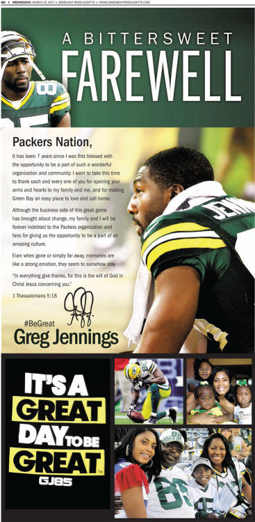 sbnation:  Greg Jennings, who signed with the Vikings after seven seasons in Green Bay, took out a full-page ad in the Green Bay Press Gazette to thank Packers fans.
