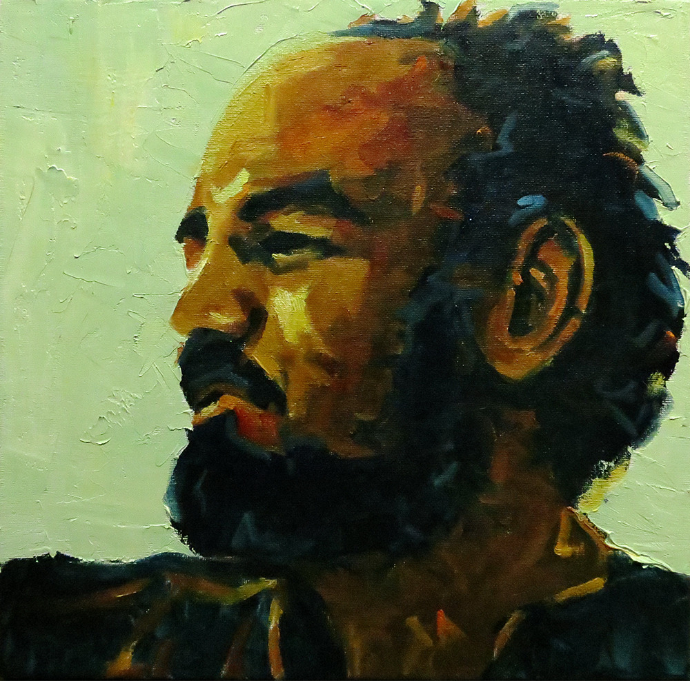 Parajanov 12x12 oil on canvas This is a recent commission - portrait of an Armenian film director.