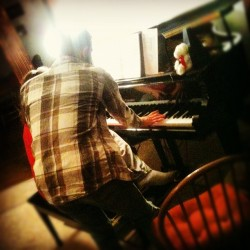 Working on some John Denver!  #therealhusbeard #grand #babygrand #piano #music #practice #rehearsal #husband #friends #playing #working #beautiful #instrument #keys #ivories