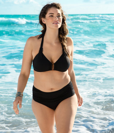 Hello H&M, I'd like to commend you on your nice plus-size swimwear shoot.  In the words of Hadley Freeman: I am a fashion columnist and it is spring and, as such, it is my legal and God-given duty to instruct you how to get a bikini body. So here goes: 1. Take one body, probably yours. 2. Take one bikini, probably yours. 3. Put bikini on body.