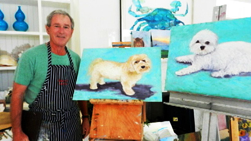 One day, I shall have an original George W. Bush puppy painting framed above my mantel. (It's good to have life goals.)