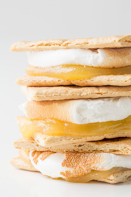 thecakebar:  Revamped S'mores - Tutorials These are not the typical s'mores recipes! These are s'mores with a twist!  I hope you enjoy the unique ingredient combinations. This list will definitely help revamp this favorite camping treat! Lemon Meringue Smores (pictured) Triple Chocolate Smores (pictured): Chocolate Marshmallows & Chocolate Graham Crackers and semi-sweet or bittersweet chocolate  Banana Strawberry Smores (pictured) Here are some combinations you can add: lemon curd, homemade or store bought {Lemon Meringue Pie} (pictured) strawberries and cream cheese fresh apple slices and cinnamon Nutella and dulce de leche Ghirardelli caramel or raspberry filled chocolate squares peanut butter or almond butter chopped candy bars – especially Snickers or whole Reese's triple berry – fresh blueberries, raspberries and blackberries plus white chocolate brown sugar roasted sweet potatoes slices brownie pieces cheesecake pieces raspberry jam or raspberry curd and dark chocolate sea salt on the original Oreo tar (that's what I call the stuff inside Oreo Truffles) strawberries, bananas, chocolate, caramel sauce, pecans/almonds {Ice Cream Sundae} (pictured) toasted coconut with homemade coconut marshmallows and macadamia nuts or pineapple fresh strawberries, lemon curd and strawberry marhsmallows {Strawberry Lemonade} Andes Mints with chocolate graham crackers chocolate orange pieces (these), a pinch of orange zest and chocolate grahams sandwich roasted vanilla marshmallows between two peanut butter, chocolate chip cookies or chocolate cookies ***Visit the link for more details/full details