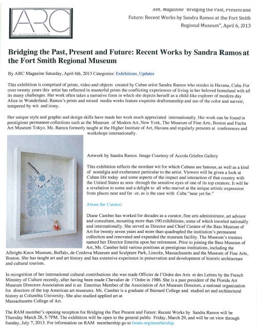 Bridging the Past, Present and Future: Recent Works by Sandra Ramos at Fort Smith Regional Art Museum. -ARC magazine