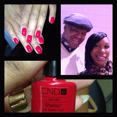 Took care of the lovely @tamarbraxtonher today,beautiful ppL..gel shellac manicure *Color wildfire* @joeysboombox #theJoeStarGroup #nails #gelnails #tamarBraxton #music #potd #Thebraxtonfamily #love 💅💅😊😊