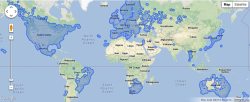 "Ah, this explains a few things about GeoGuessr. The blue shaded areas represent parts of the world covered by Google Street View imagery. MapCrunch is more fun if all you want to do is see random locations one after another with the option to locate them on a map. Just keep pressing the green ""Go"" button and be a virtual tourist."