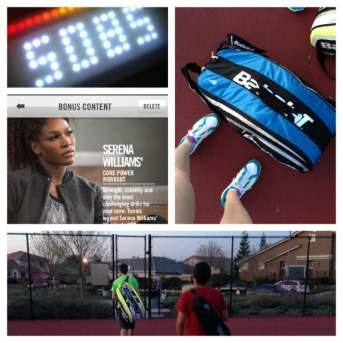 A little tennis before the race tomorrow! #fuelcheck #NTC #letsturnitup @nikefuel @nikefuelbandofficial @nikerunning @nike @nikewomen @serenawilliams