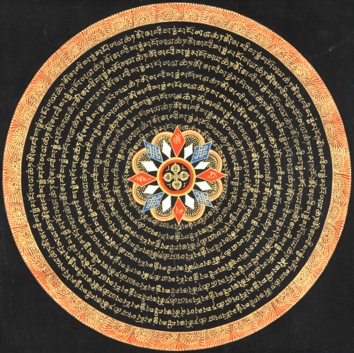 kelledia:   Vishva Vajra Mandala with Syllable Mantra and Endless Knot.