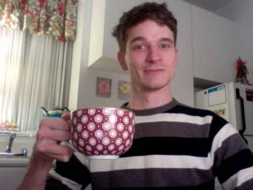 I am staying with Amanda in New York and this teacup of hers is so big it's a struggle to hold it with just one hand.