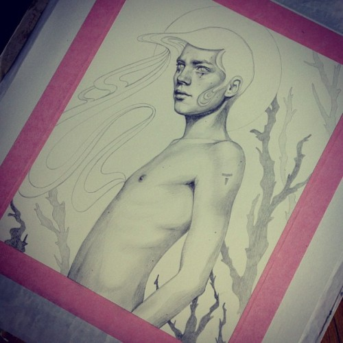 Underdrawing all finished and cleaned up. Now he's so damn ready for paint. 🎨 #wip #underdrawing #boy