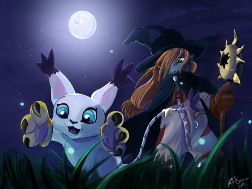 Wizardmon and Gatomon
