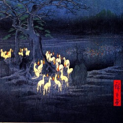 "st1mu11:  Hiroshige, ""Fox Fires on New Year's Eve at the Garment Nettle Tree at Oji,"" a woodblock print from 1857. Japanese legend has it that trickster fox spirits, or kitsune, have noctural gatherings once a year where they receive their orders for the year to come."