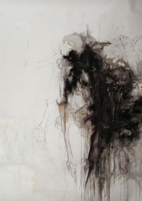 Mary Czekalinski. La Dame Blanche, 2007. Graphite, ink and charcoal on paper