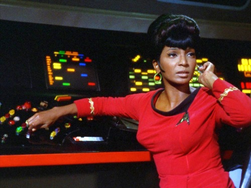 "rhyfeddu-partyofone:  whataboutbobbed:  Nichelle Nichols (December 28, 1932 - )  ""Uhura never had another name during the series. One of the fan writers wrote ""Upenda"" - which means ""peace"" in Swahili, I understand — not officially, but in some of their fan writings. And it sort of took hold. But when they were going to do the official history of Star Trek in a published book, the writer called Gene and asked him was ""Uhura"" her first name or her last name? Gene said, ""Well, Nichelle and I never decided."" We always leaned towards it being her last name because it's taken from the Swahili ""uhuru"" which means freedom. So it would sort of be like the same as ""Freeman."" So he said, ""You can make it her last name."" The writer said, ""What about her first name? I've come up with one in Swahili. It's Nyota."" Gene said, ""I can't give you that permission because Nichelle and I named her together, and she has rights to that, so you'll have to call her and get her permission."" So he gave him my number, and he called me and I laughed and was delighted. He said, ""I have a name and it's Nyota."" I said, ""That's quite beautiful. What does it mean?"" He said, ""It means 'star'."" I said, ""You can have my permission!"" So I have since said that her name is Nyota Upenda Uhura, which would mean a free-floating star: ""star of freedom and peace"". I like that.""    — NICHELLE NICHOLS"