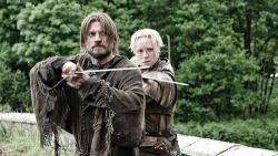 smoucan:  THIS! This is what I want! I want Jaime Lannister and Brienne of Tarth, fighting side-by-side, being all companions and shit. I mean, I ALMOST don't care if they don't get to be romantically involved, but I feel that both of these two deserve at least that ONE person they love and trust. Okay that was a lie, I DO want to see them end up together (I think my previous posts made THAT pretty clear), but in all seriousness though. This picture really sums up what a fantastic duo these two would be! 3 hands and all!I LOVE YOU TWO!