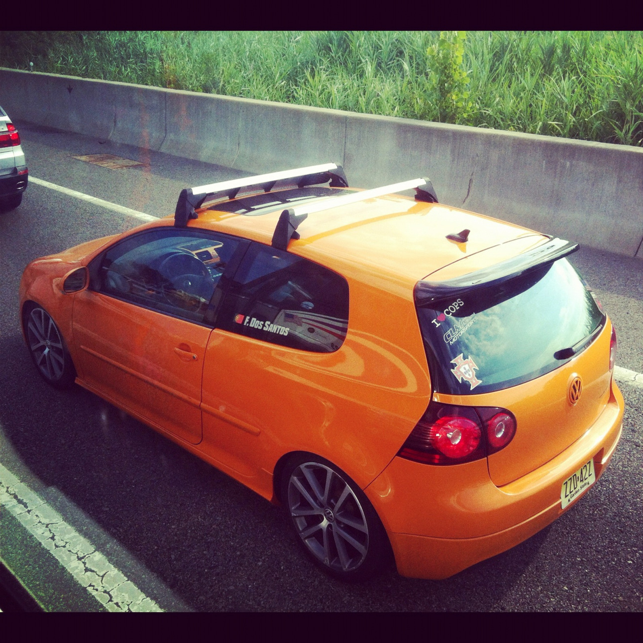 Here's one I took on the bus of a GTI Fahrenheit wannabe. You can tell that it's not real by the interior for one.   VW only made 1200 of these for the US. I almost bought one after my Mini but it only came with VW's DSG tranny, one of the best auto transmissions, but I love manual trannies too much in a car like this. Pretty happy I never bought it, dealers were up charging way too much too.