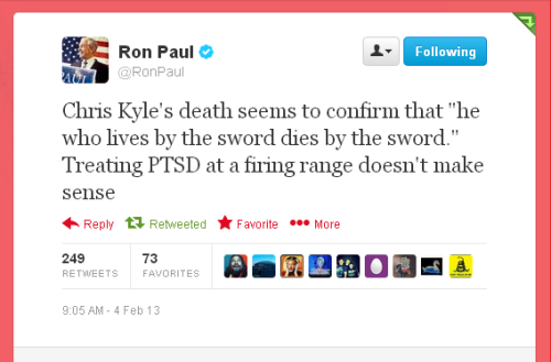 Ron Paul on Chris Kyle's murder. Accurate.