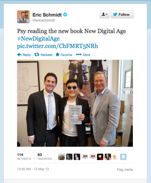 "Psy, who claims the Internet's most popular video of all time, is an apt pitchman for ""The New Digital Age,"" a new book by Google's Eric Schmidt and Jared Cohen.  Catch the authors on Wednesday at Booth 104. Tix: http://bit.ly/ZEZaq2"