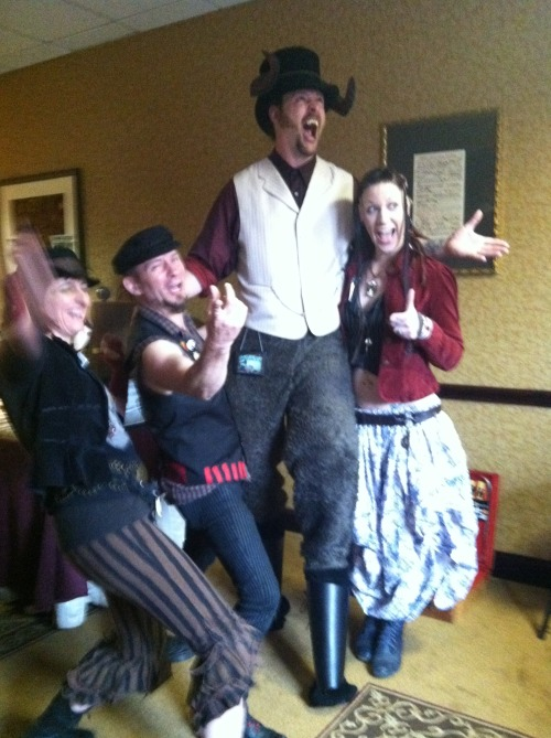 jexislexington:  Woooo Steam Punk World's Fair photoset and write-up! So my incredibly rad pal Gianna dragged me to this con (so we could crash it as Aquabats, heheh) even though I only have a passing knowledge of the steam punk genre and Steam Powered Giraffe, but I must say I was really impressed by everything! A lot of it was beyond me, but I could still appreciate the incredible craftsmanship and atmosphere the convention had. Everyone was ridiculously friendly and a surprising amount recognized us! Also, we encountered the wonderfully rad and super cool Blair (mylittlerinzler.tumblr.com) who hung out with us and was a huge enabler when it came to obnoxious photos of Gianna and I (just you wait, I got another photoset coming eheheh). Thanks for that, and for chilling with us and being generally great! You're awesome, Blair. So yeah if I had to sum up SPWF, I would say that it was fantastically impressive and a great time with friends!   I squee'd back and forth with these Aquabats for a minute, lol!  great pics! AAAAAAAAHH MEMORIES