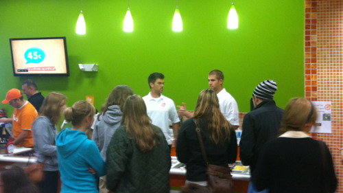 Jordy Nelson and Mason Crosby at their frozen yogurt shop in Green Bay called the Orange Leaf