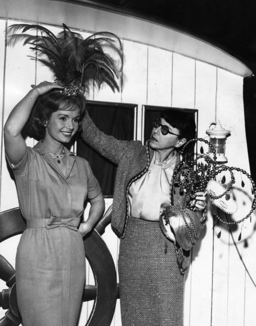 theniftyfifties:  Debbie Reynolds with costume designer Edith Head.